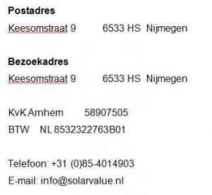 Contactgegevens Solar Value